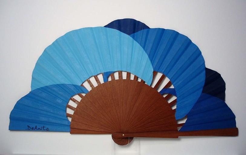 "Abanico moderno ""Ondas Azules"""