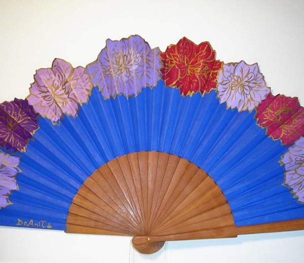 """""""Medio Pericón con flores en azul"""""""