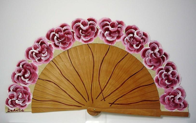 Abanico floral Rosas burdeos