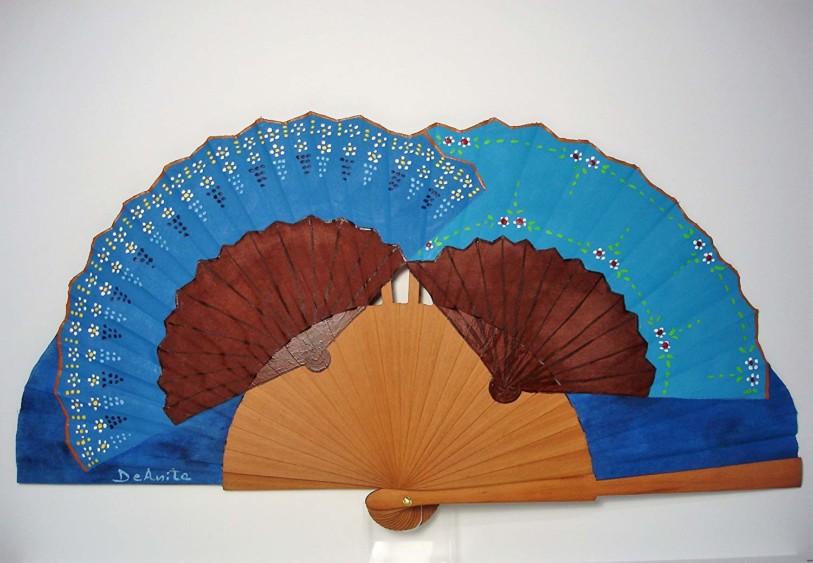 "Abanico flamenco ""Dúo de abanicos en azul"""